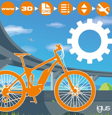 Plastic sprocket printed in 3D in the bicycle